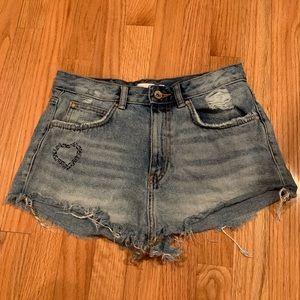 Zara High-waisted Jean Shorts